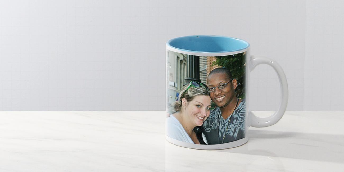 #7102whitecolorphoto11oz11oz White C-Handle Photo Mug with Color Interior
